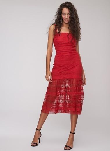 People By Fabrika Dantel Elbise Kırmızı